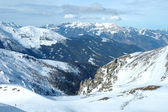 Peaks and valley in Alps in winter — Stock Photo