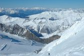 Ski slopes and ski lift on Hintertux glacier — Stock Photo