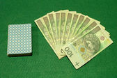 Poker cards and cash — Foto Stock