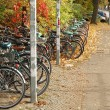 Bicycles waiting nearby railway station — Stock Photo