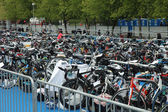 Bicycle waiting at Poznan Triathlon — Foto Stock