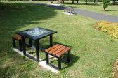 Chessboard in park — Stock Photo