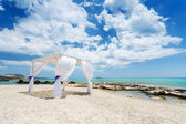 Wedding baldachine on the beautiful beach — Stock Photo