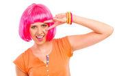 Porträt der jungen frau mit rosa haaren. — Stockfoto
