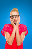 Close-up of sad young woman in glasses. — Stock Photo
