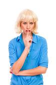 Vrouw vragen voor stille of stilte. — Stockfoto