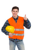 Engineer wearing reflective clothing and showing thumb up. — Stock Photo