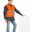 Construction worker holding bar chart. — Stock Photo #38509229