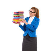 Elegance woman holding stack of books — Stock Photo