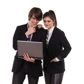 Elegance students with laptop. — Stock Photo