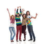 Shouting group of college students — Stock Photo