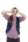 Girl in 3-D glasses — Stock Photo