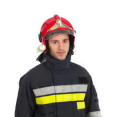 Fireman in red helmet — Stock Photo