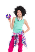 Young DJ teen girl — Stock Photo