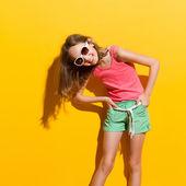 Laughing girl in sunlight — Stock Photo