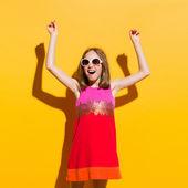 Little fashion model happiness — Stock Photo