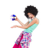 Little DJ girl in afro wig — Stock Photo