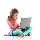 Boring homework on a laptop — Stock Photo