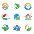 Green eco house in nature logo and icon illustration template — ストック写真