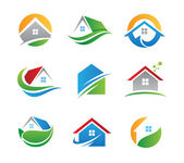 Green eco house in nature logo and icon illustration template — Stok fotoğraf