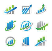 Business stock and real estate economy logo and icon template — Stock Vector