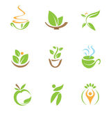 In touch with nature healthy medicine logo and icon — Stok Vektör