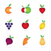 Green eco healthy fruit for strong individuals and company, logo template and icon symbol — Vector de stock