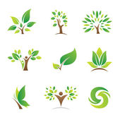 Tree of life for green nature future business company logo and icon template symbol — Vettoriale Stock