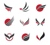 Black Vector set of wing symbols for travel agency and little paradise holiday — Vector de stock
