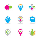 Locating Logo Vector set for businessman and entrepreneurs, social network community for people connecting — Cтоковый вектор