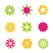 Flower background pattern ornament and decoration logo and icon set — Stock Vector