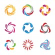 Abstract social  loop circle logos and icons template, human communication, partnership and interaction in community and internet media and network — Stockvektor