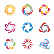 Abstract social  loop circle logos and icons template, human communication, partnership and interaction in community and internet media and network — Imagen vectorial