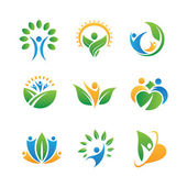 Social people back to nature living in harmony logo and icon set — Stok Vektör