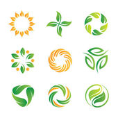Green nature loop logo and icon set for web programming and royal decoration..Sky is the limit — Vettoriale Stock