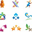 Colorful social media and people in community logo symbol — Grafika wektorowa