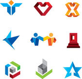 Social community people and creative innovation guru fold logo symbols — Vector de stock