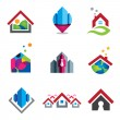 Warm home in small social global community logo set template — Stock Vector