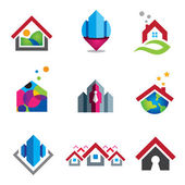 Warm home in small social global community logo set template — Stok Vektör
