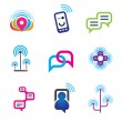 Social communication phone and internet network for world connectivity — Stock Vector