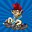 Dj playing the music for party vector logo template — Stock Vector #35564851