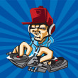 Dj playing the music for party vector logo template — Stock Vector
