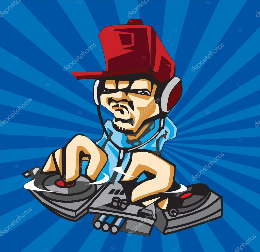 Dj playing the music for party vector logo template — Stock Vector ...