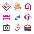 Beautiful geometry shape pixel in every human life graphic logo template — Stock Vector