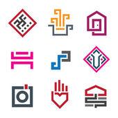 Mooie geometrie vorm pixel in elk menselijk leven grafische logo sjabloon — Stockvector