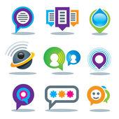 Comunicación de las personas sociales en los medios de comunicación comunitarios logo mundo y la red de internet plantilla logotipo del servicio — Vector de stock