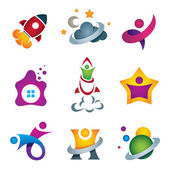 Man exploring the deep space - rocket launch and flying to the stars designer concept icon — Stockvektor