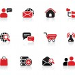 Black and red internet icons and logo set for professionals detail — Wektor stockowy