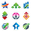 Up star arrow business marketing and finance economy icon set — Stock Vector