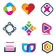 Stock Vector: Link connection symbol icons of social media and network